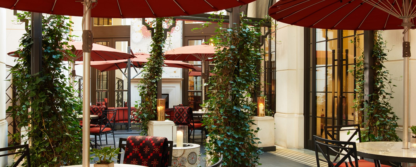 Outdoor seating and tables at the Corinthia London Garden Lounge
