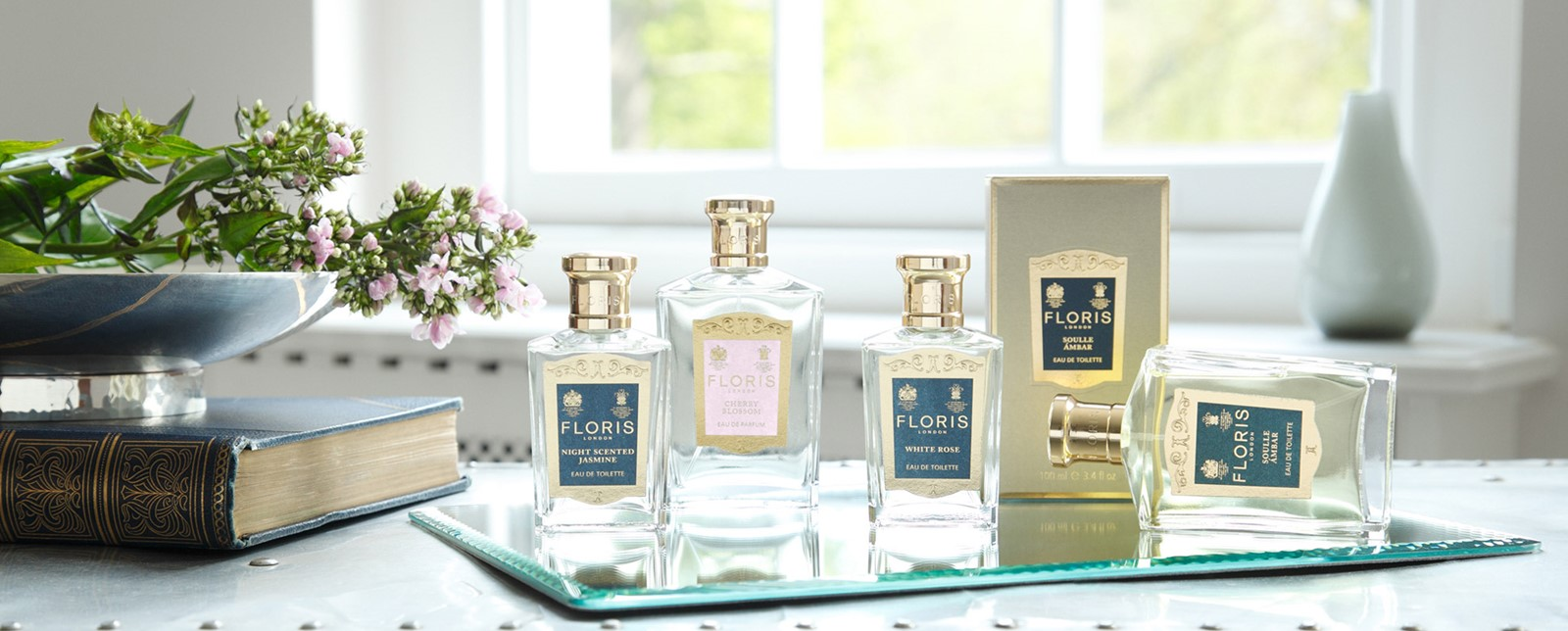 A variety of Floris fragrances on a table