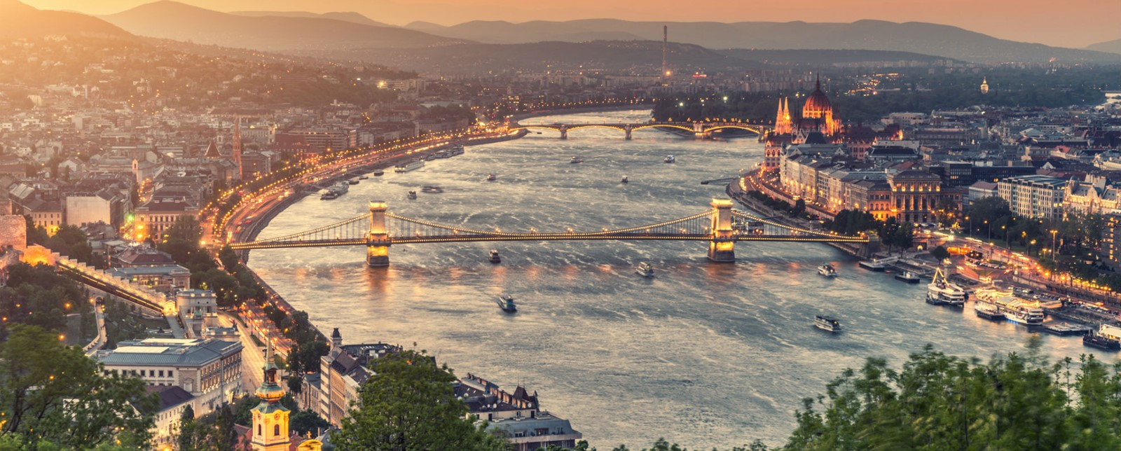 Budapest over the Danube at Golden Hour