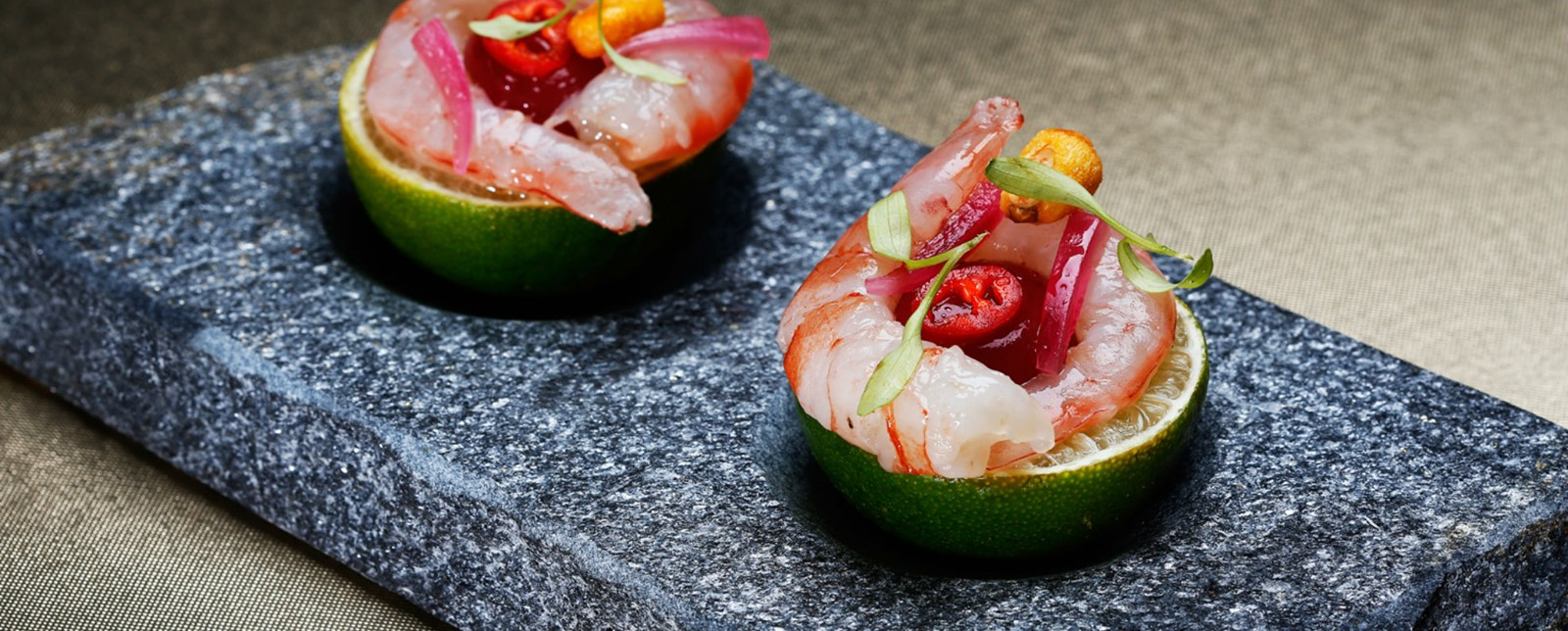 Two prawn, lime and chilli appetizers
