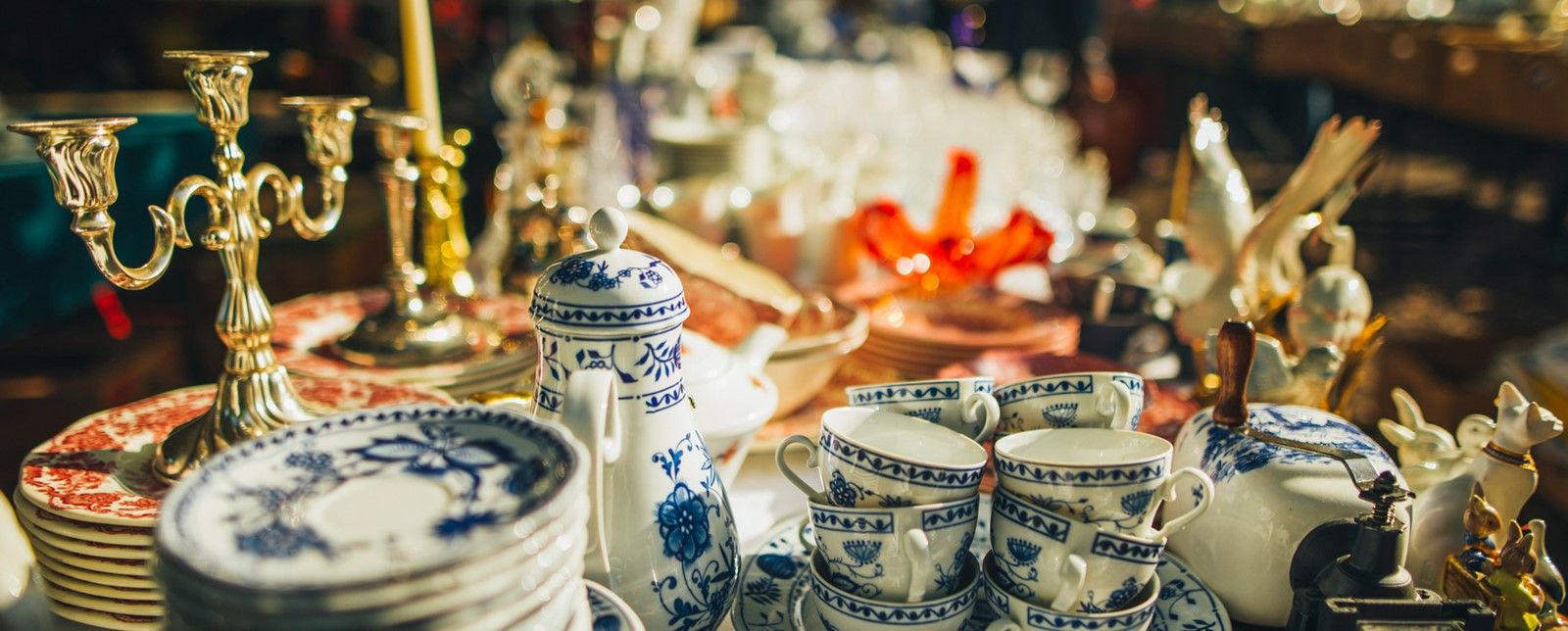 Ceramic cups and teapots at a flea market