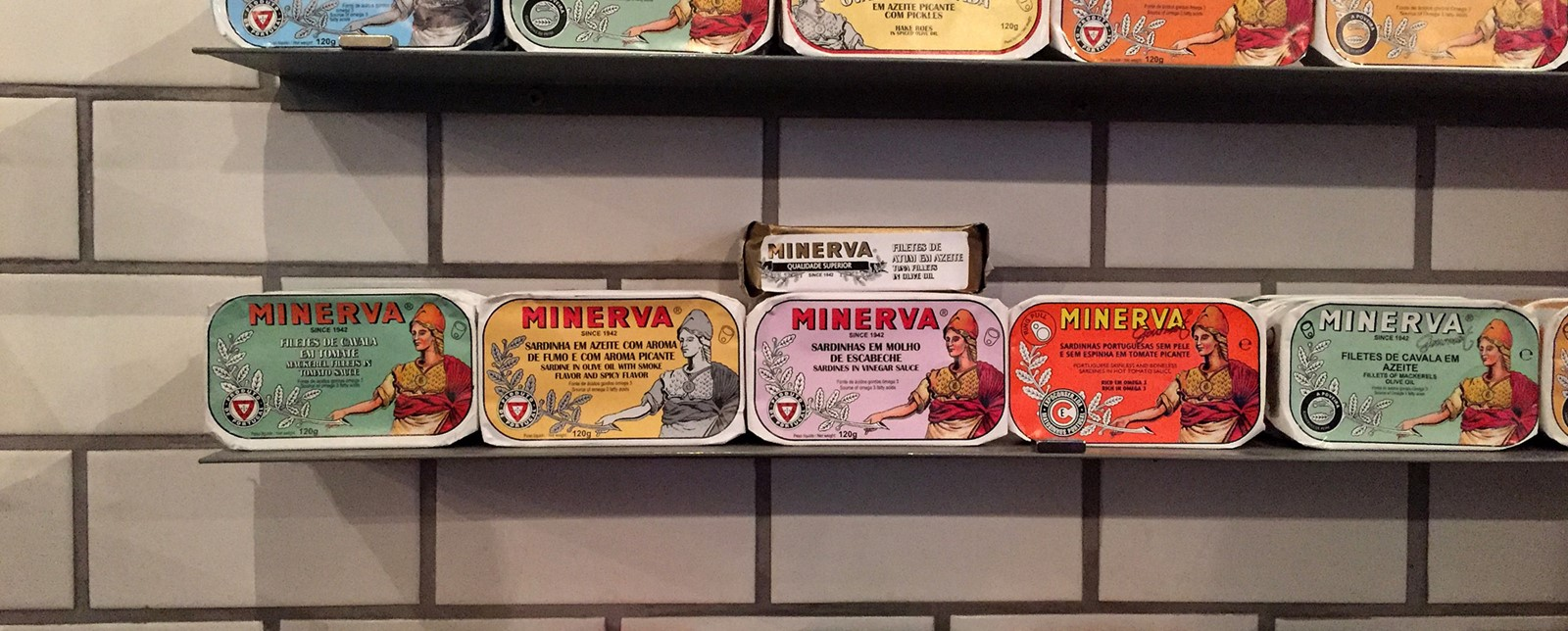 Minerva brand tinned fish on a shelf at Conserveira De Lisboa