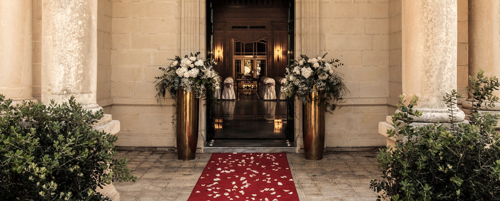 Corinthia Palace wedding entrance