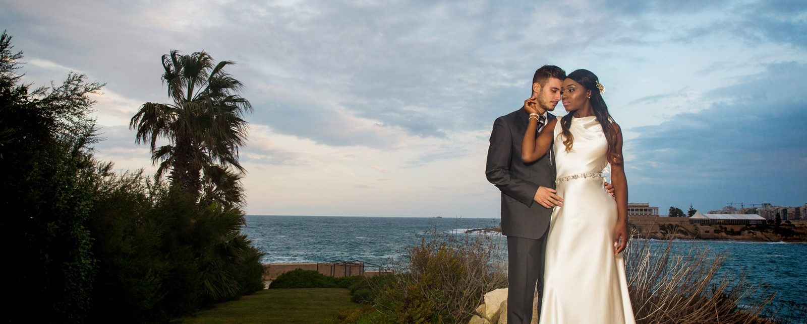 Corinthia St George's wedding couple sea views