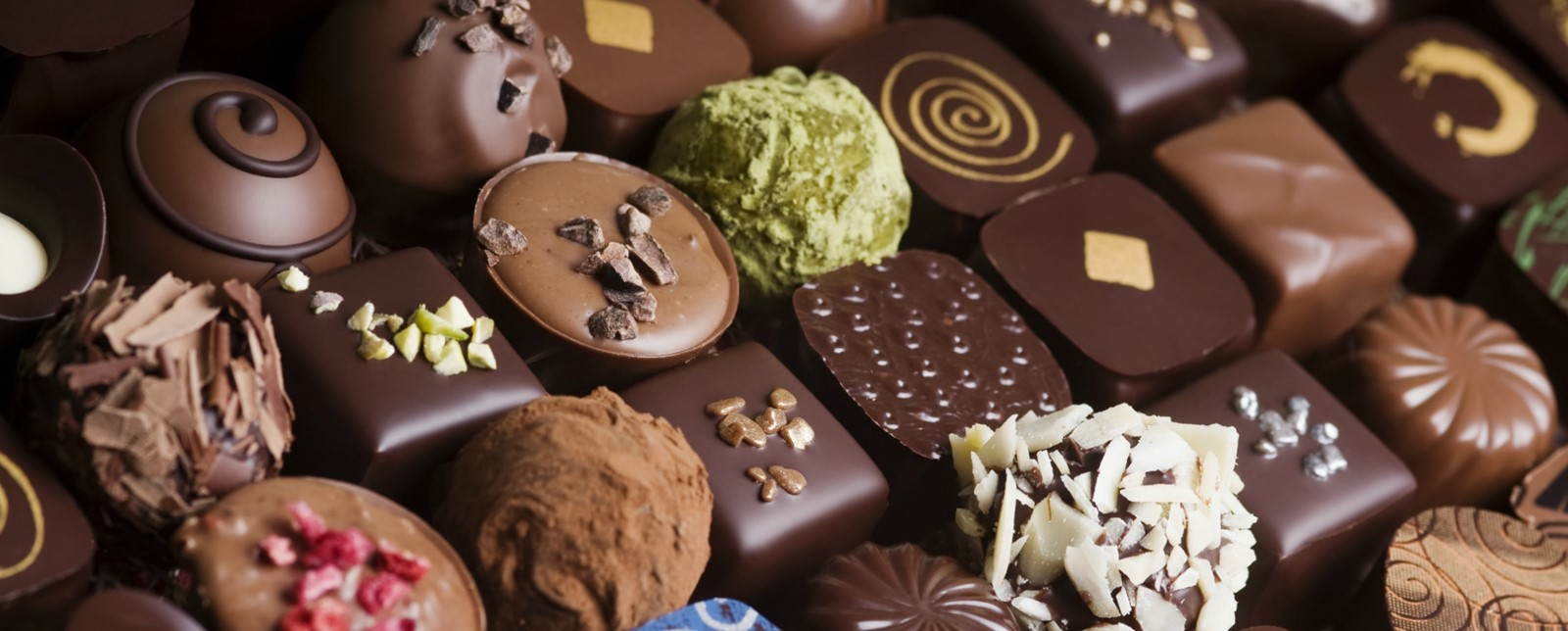 A variety of chocolates