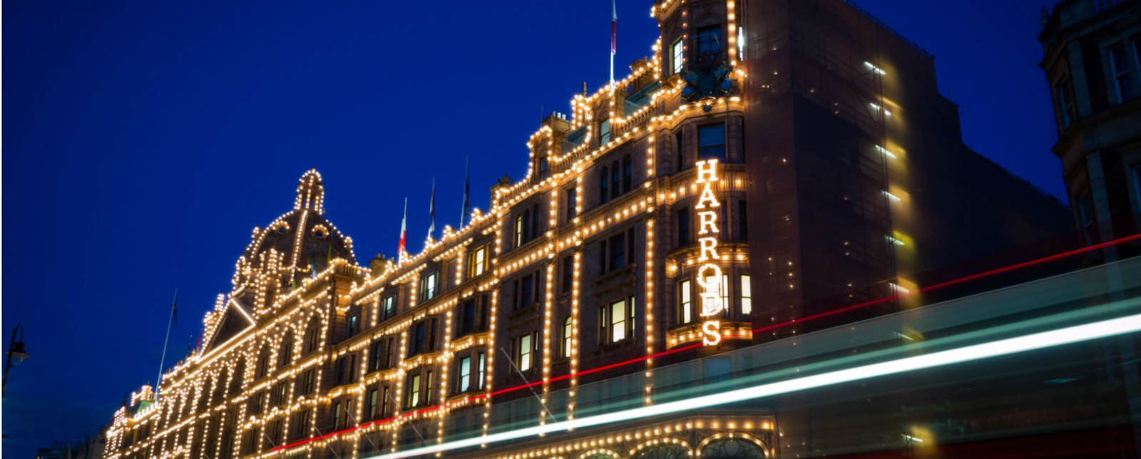 Harrod's illuminated at night