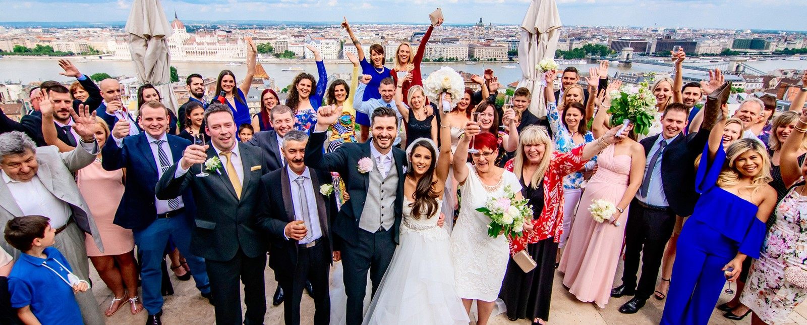 Wedding party at fisherman's bastion, budapest